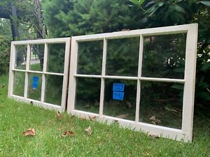2 - 32 x 23-1/4 Vintage Window Bottom sashes old 6 pane From 1953  Arts & Craft