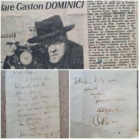 """ORSON WELLES Autographe/Lettre/ SUR LE TOURNAGE """"L'AFFAIRE DOMINICI """" A.Pol"""