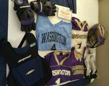Lot of Lacrosse Goalie Gear, University of Washington Logo:Helmet,Shirts,Gloves+
