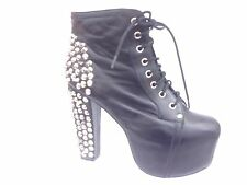 Jeffrey Campbell LITA Spiked Black Leather Ankle Platform Boots Women's Sz 9
