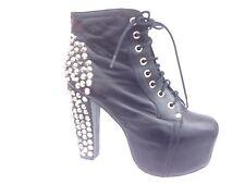 Jeffrey Campbell LITA Spiked Black Leather Ankle Platform Boots Women's Sz 9