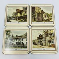 Vintage Pimpernel Coasters Old English Inns Made in England Set of 4