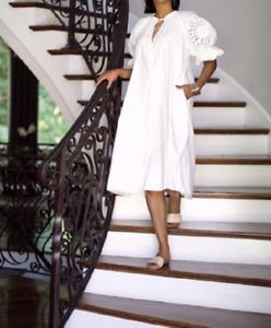 H&M Trend Midi Organic Cotton White Embroidered Puff Sleeve DRESS Kaftan sz M