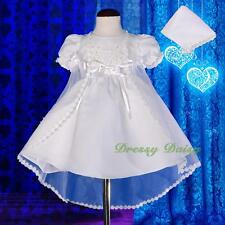 Beaded Satin Wedding Baptism Christening Dress Gown Cape Bonnet Baby Size 0 #009