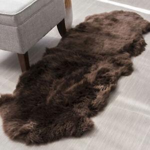 Genuine Sheepskin Rug Bedside Hallway Two Pelt Natural Fur, Double 2' x 6'