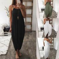 Women Maxi Dress Sleeveless Loose Summer Beach Party Fashion Strip Long Dresses