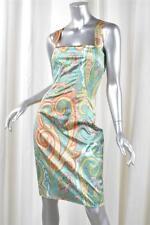Dolce&Gabbana Mujer Multicolor Turquesa Motivo Cachemira Mezcla de Seda Vestido
