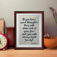 Roald Dahl quote dictionary page art print literary reading gift  design quotes