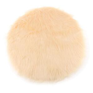 Round Shape FluffyFauxFurSeat Cushion Seat Pad Sheepskin Floor Mat Pad
