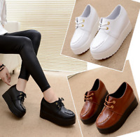Womens Roman Round Toe High Hidden Wedge Platform Lace Up Casual Creepers Shoes