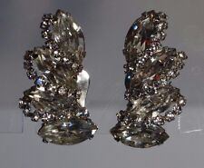 Stunning Clear Rhinestone SIGNED WEISS Climber Clip on Earrings