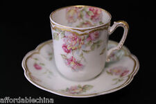 Haviland Limoges Schleiger 39 Double Gold Chocolate Demitasse Cup and Saucer -C