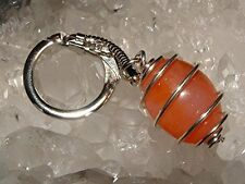 Stocking Filler Carnelian Spiral Cage Key Ring With Angel Wing