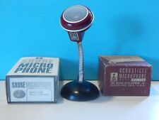Vintage Rare 1950S Brush BA-109 Microphone In Box With NOS Shure S38B Stand Old