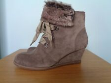 Clarks 'Lumiere Spin' Suede Fur Trimmed Wedge Heel Ankle Boots, Size 5
