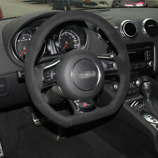 1 set Flexible Swede Leather Wrap Steering Wheel Cover Stitch on For Audi TT
