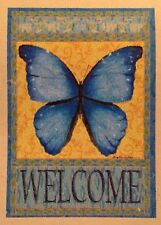 WELCOME BUTTERFLY BLUE GARDEN SPRING SUMMER LARGE YARD FLAG NEW
