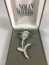 Nolan Miller Glamour Collection Long Stem Crystal Rose Pin Brooch NEW Signed 3""
