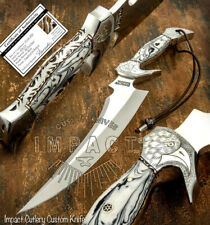 IMPACT CUTLERY RARE CUSTOM D2 FULL TANG ART BOWIE KNIFE ENGRAVED BOLSTERS