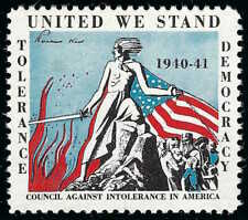 1940 Wwii United We Stand Council Against Intolerance Usa Democracy Poster Stamp
