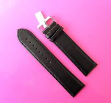 Uhrenarmband Leder 22mm XXL länger als Extra lang schwarz 22/20 (288) super lang