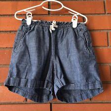 LAND'S END Girl's Denim Blue Drawstring Jean Shorts Size Medium 10-12