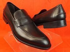 NIB GUCCI BLACK LEATHER SCRIPT LOGO DRESS PENNY LOAFERS 13.5 14.5 # 257824