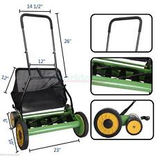 "Lawn Mower 20"" Classic High Quality Hand Push Reel W+Grass Catcher Black +Green"