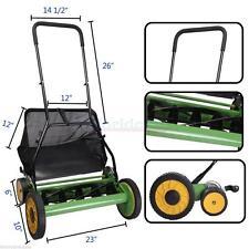 "Lawn Mower 20"" Classic High Quality Hand Push Reel W+Grass Catcher Black +Green"