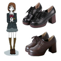 JK Japanese School Student Uniform Platform High Heel Shoes Ankle Boots Cosplay