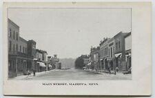 1910 era Mazeppa Minnesota Main Street Postcard Talks about Town on backl