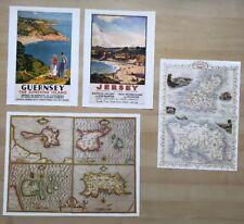 JERSEY, GUERNSEY: 2 x Antique maps 1600s, 1800s PLUS 2 x Railway posters Reprint