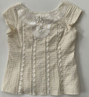 Nanette Lepore PIRATE White Cotton Eyelet Sequin Shell Top SZ 8 Back Zip Party