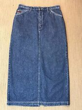 Liz Claiborne Jean Skirt 12 Blue Carpenter Longer Length 5-Pockets Crazy Horse