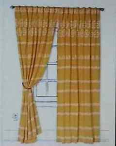 "NEW ANTHROPOLOGIE BRIGHT YELLOW DAHLIA STRIPE  CURTAIN WINDOW PANEL 50"" X 96"""