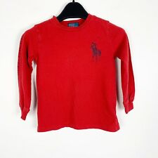 Polo Ralph Lauren Boys Big Pony Graphic Long Sleeve T-Shirt Red Navy Blue 4 4T