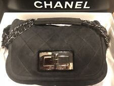 CHANEL BLACK QUILTED SUEDE SHEARING FLAP HANDBAG ON CHAIN, NEW TAGS/$2,300