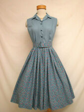 Vintage 60's Style Cotton Shirtwaist Day Dress Roses Daisies Floral
