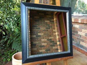Antique Look Wall Mirror Aged Black & Ornate Silver Trim Wood Frame 58x58cm