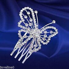 Diademe Peigne Papillon Argent Accessoires Cheveux Mariage Cristal Clair BB 10