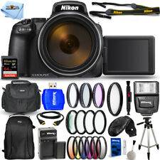 Nikon COOLPIX P1000 Digital Camera + EXT BATT + 64GB + Filter Kit Bundle