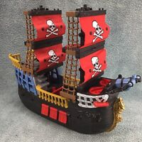 Fisher Price Mattel Imaginext Black Red Pirate Ship Rare Crossbone Sails Retired