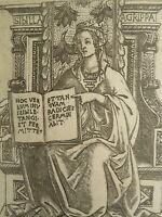 Baccio BALDINI (1436-1487) GRAVURE RENAISSANCE SIBYLLE AGRIPPA EGYPT ITALIE 1480