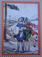 Girl with Muffler Old Fashion Christmas Greeting Card