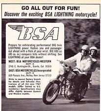 1967 BSA LIGHTING 650cc MOTORCYCLE  ~ ORIGINAL SMALLER PRINT AD