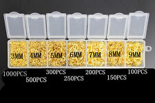 2500PCS 3-9MM Making Jewelry Findings  Yellow Gold Plate Open Jump Rings Box