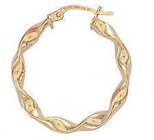 9ct Gold Twist Hoop Earrings Diameter 2.7cms 1.2gms NEW