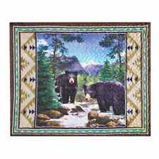 Bear In The Mountains Aztec Patterned Pillow Sham - Woodland Bedroom Decor