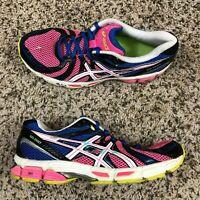ASICS Gel Exalt Shoes Women Sz 9 Pink Black Blue Athletic Running Cross Training