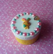 Handmade White & Yellow Bunny Rabbit Paper Mache Trinket Jewelry Gift Box Easter